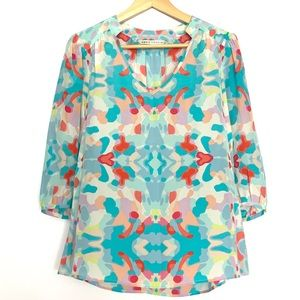Annie Griffin Baby Blue Pastel V-Neck Silk Blouse
